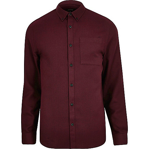 Red casual herringbone shirt