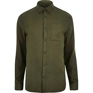 Groen casual overhemd met visgraatmotief