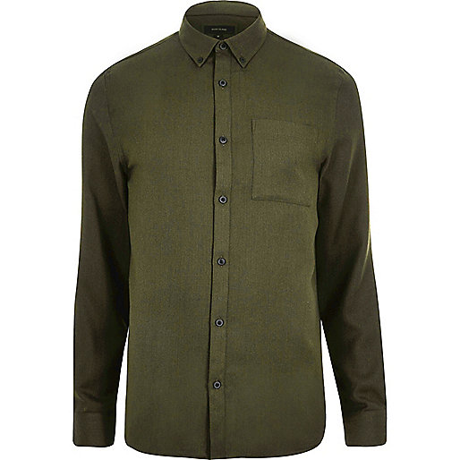Green casual herringbone shirt