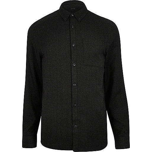 Black casual herringbone shirt
