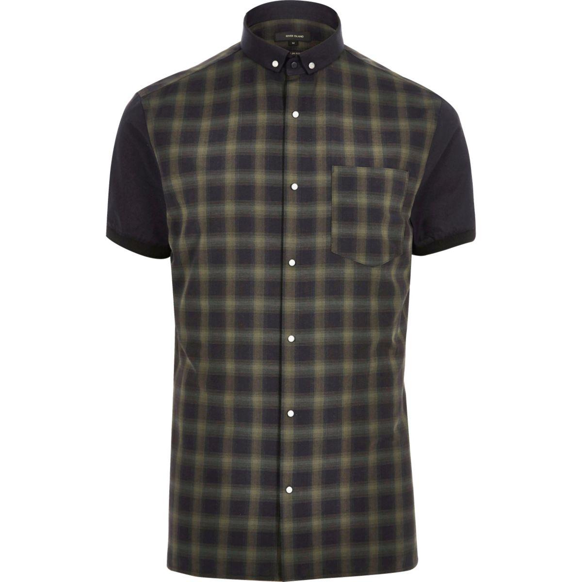 Khaki check slim fit shirt