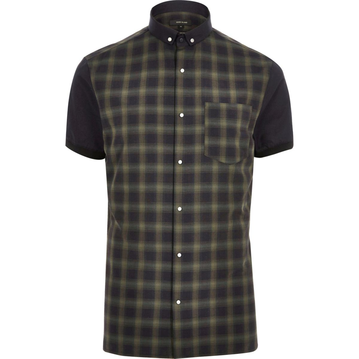 Khaki check slim fit shirt