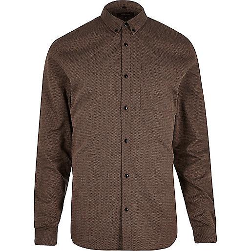 Brown zig zag textured slim fit shirt