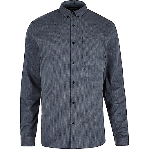 Blue zig zag textured slim fit shirt
