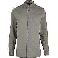 Grey diamond textured slim fit shirt