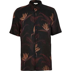 Black paradise floral print shirt