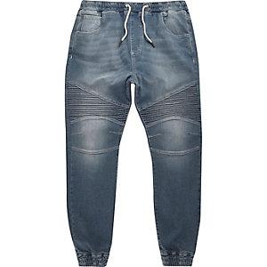 Jean motard Ryan délavage bleu moyen style pantalon de jogging