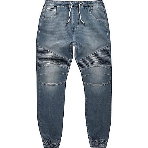 Mid blue wash Ryan biker jogger jeans