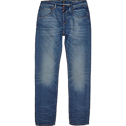 Mid blue wash Chester skinny tapered jeans