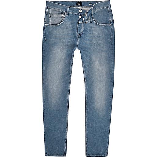 Jean fuselé coupe skinny bleu moyen délavé