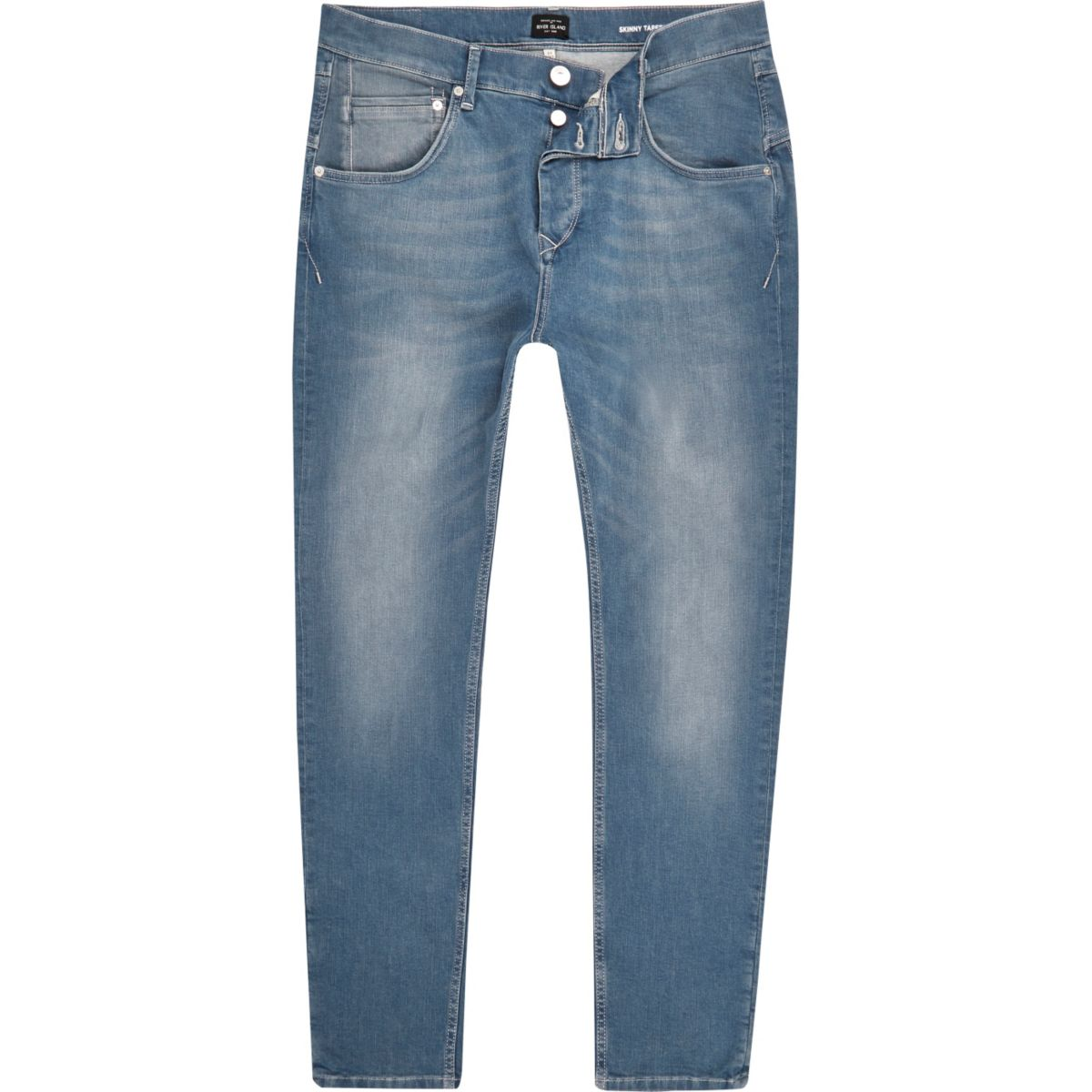 Mid blue wash skinny tapered jeans
