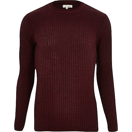 Burgundy ribbed slim fit jumper