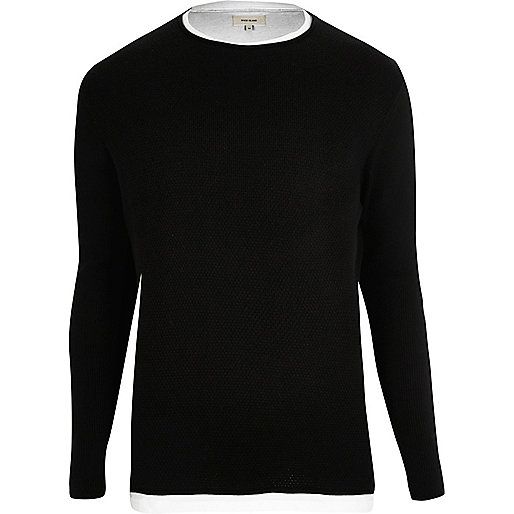 Black double layer sweater