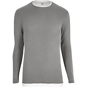 Grey layered longline sweater