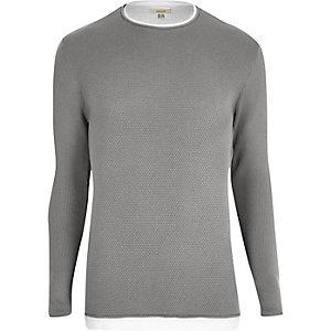 Grijze gelaagde lange pullover