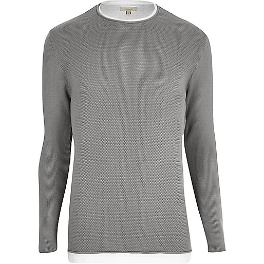 Grey layered longline jumper