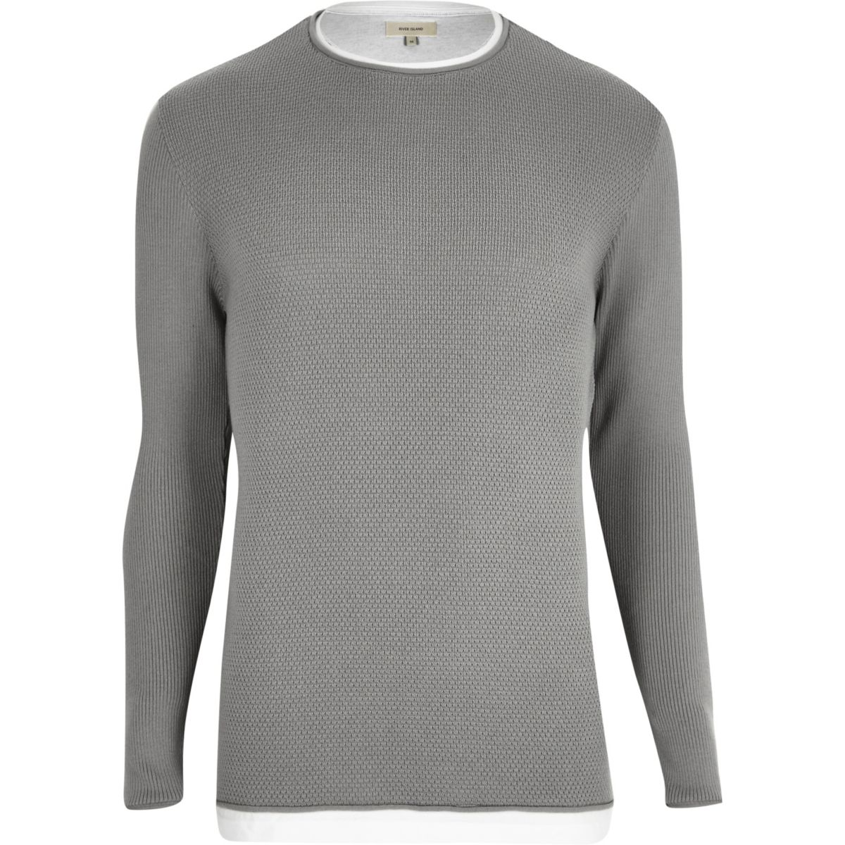Grey layered longline jumper