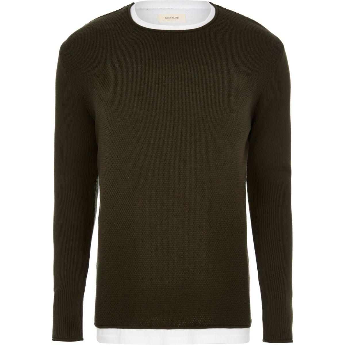 Dark green layered longline jumper