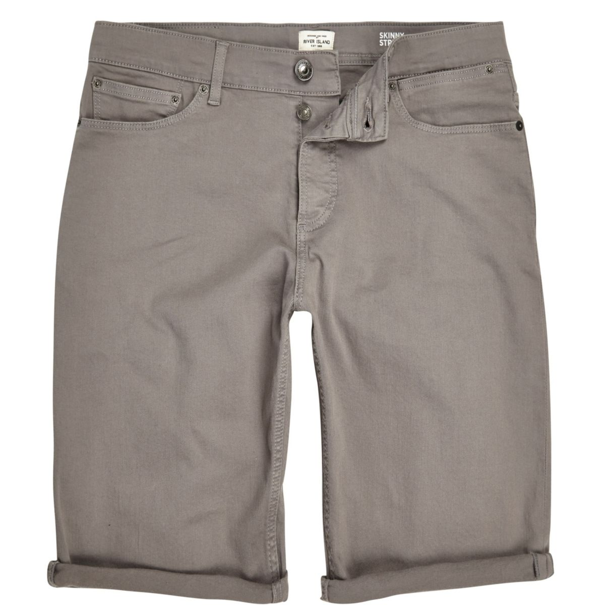 Grey skinny fit denim shorts