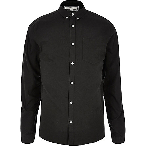 Black casual Oxford shirt - long sleeve shirts - shirts - men