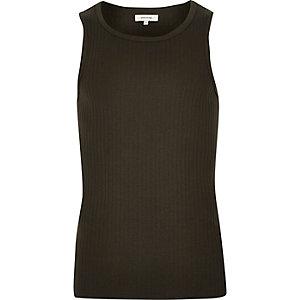 Khaki ribbed vest