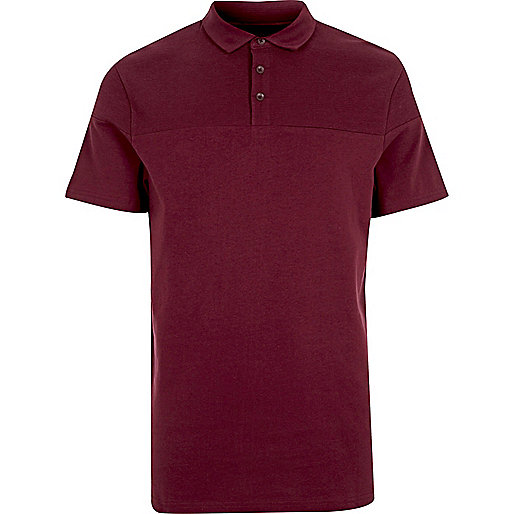 Burgundy red textured polo shirt