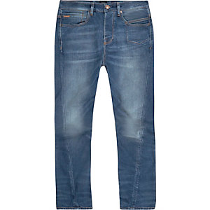 Mid blue wash Curtis slouch fit jeans