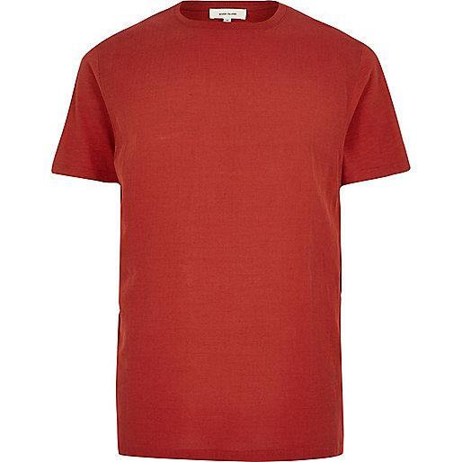 Orange woven front t-shirt