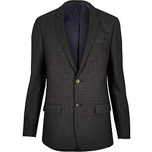 Grey checked skinny suit jacket