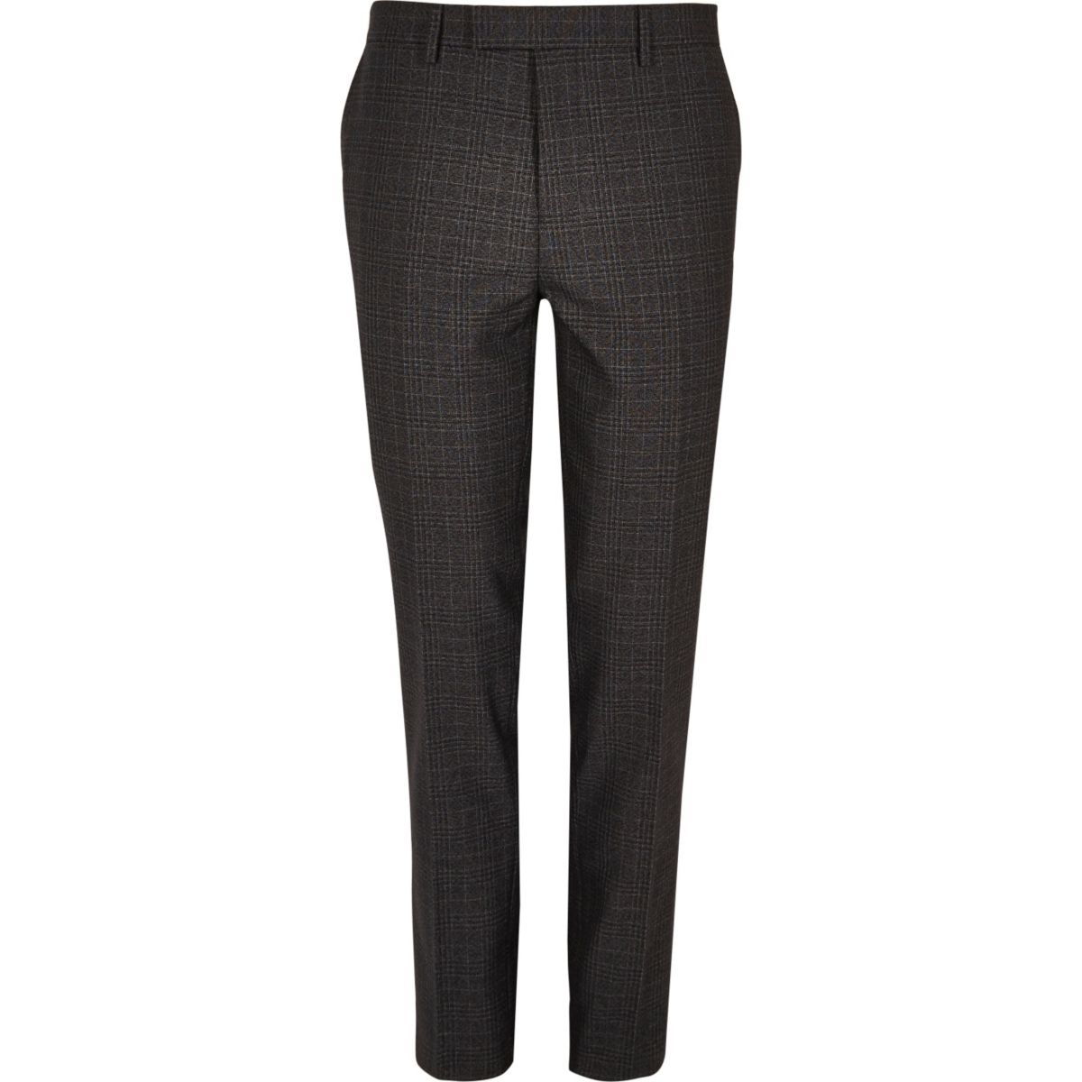 Grey checked skinny suit trousers