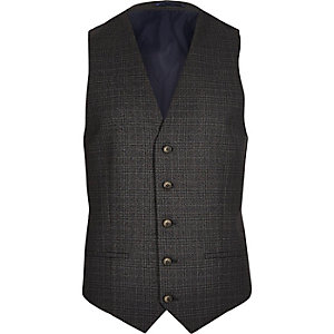 Grey checked skinny vest