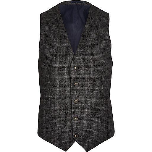 Grey checked skinny waistcoat