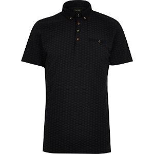 Navy contrast collar polo shirt