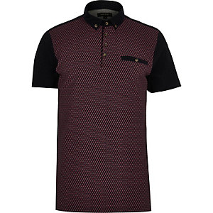 Red paloma print polo shirt