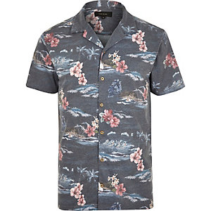 Navy Hawaiian print polo shirt