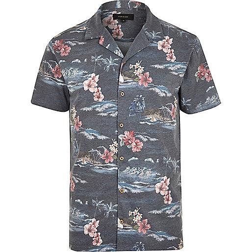 Polo à imprimé hawaïen bleu marine