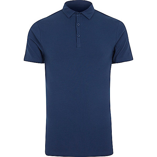 Navy muscle fit polo shirt