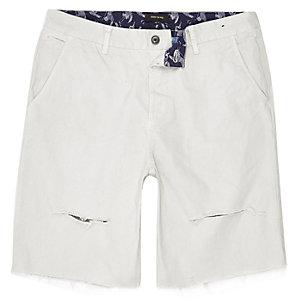 Grey distressed slim fit shorts
