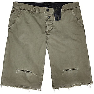 Khaki distressed slim fit shorts