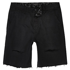 Black distressed slim fit shorts