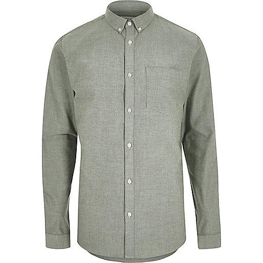 Green casual Oxford shirt
