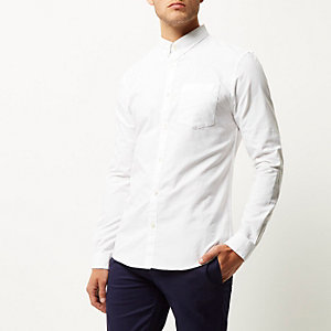 Wit casual slim-fit Oxford overhemd