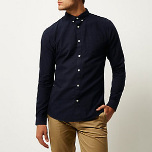 Marineblaues, langärmliges Slim Fit Oxford Hemd