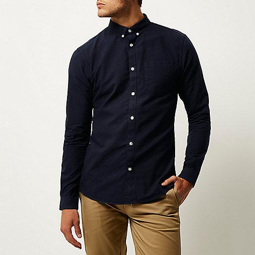 Marineblaues Slim Fit Oxford-Hemd