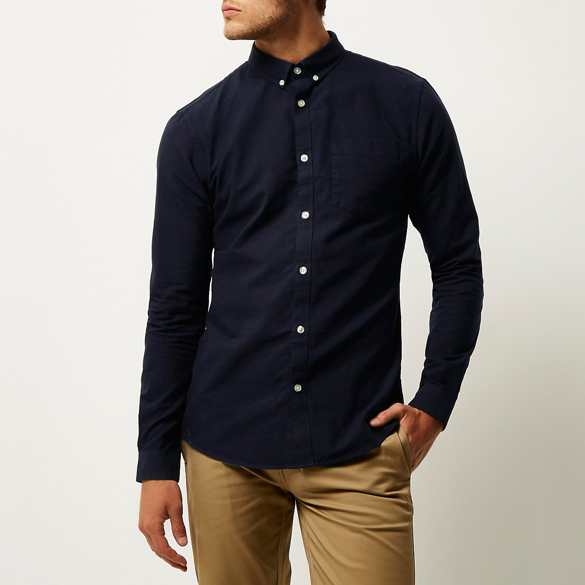 Navy slim fit long sleeve Oxford shirt