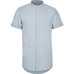 Blue grandad collar short sleeve shirt