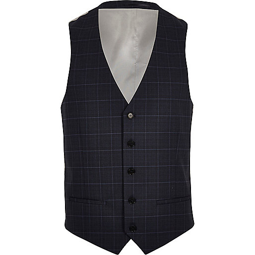 Blue window pane slim vest