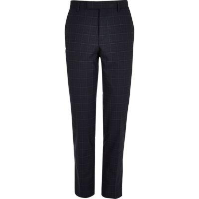 Blauwe smalle pantalon met ruitmotief thumbnail