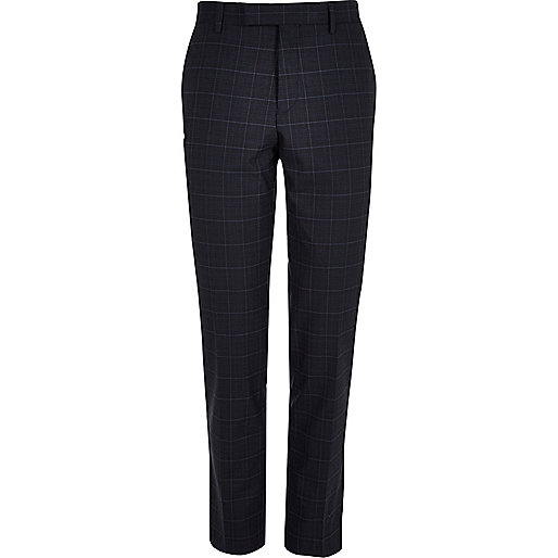 Blue window pane slim suit trousers