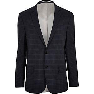 Blue window pane slim suit jacket